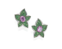 516. pair of 18 karat two-color gold, pink sapphire, tsavorite garnet and diamond earclips