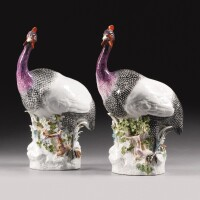 37. two important and rare meissen figures of guinea fowl, 1735 |