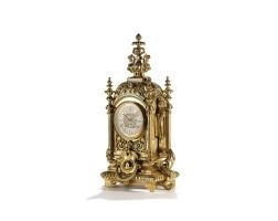 17. a large french louis xiv-style gilt bronze mantel clock, circa 1870