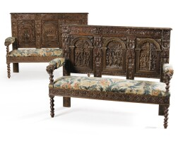 7. a pair of neo-renaissance carved oak benches, 19th century,including older panels |