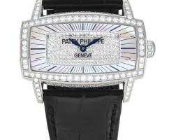 36. patek philippe   gondolo gemma, reference 4982 a white gold and diamond-set wristwatch with mother-of-pearl dial, made in 2008