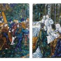 8. le portement de croix et la présentation du christ au temple limoges, xvie siècle