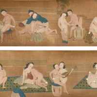 48. chinese school, qing dynasty, 18th/19th century, a finely painted erotic subject handscroll, attributed to qiu ying