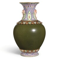 3613. a rare famille-rose and tea-dust glazed revolving vase seal mark and period of qianlong |