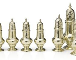 331. a set of three george ii silver-gilt casters, samuel wood, london, 1754 |