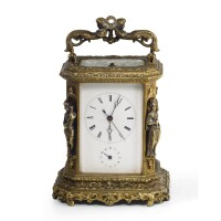 551. a french brass sculptural repeating alarm carriage clock, japy frères, circa 1850