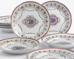 2. a set of nine russian porcelain dinner plates from the yacht service, imperial porcelain manufactory, st. petersburg, 1784-1787; 1796-1801