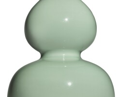 10. a fine and rare celadon-glazed double-gourd vase yongzheng seal mark and period