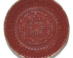 50. 清十八世紀 剔紅玉堂富貴紋盤