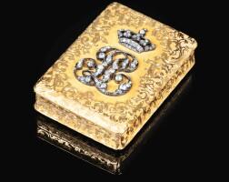 41. a jewelled gold royal presentation snuff box, louis françois tronquoy, paris, circa 1840, retailed by jean-benoîtmartial bernard |