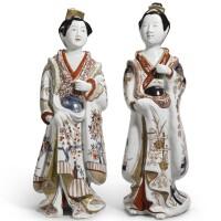 22. a pair ofjapanese imari figures of bijin edo period, late 17th/early 18th century