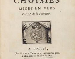 132. la fontaine. fables. denis thierry, 1668. in-4. maroquin rouge de trautz-bauzonnet. edition originale.