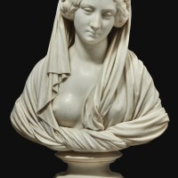 429. pasquale romanelli (florence 1812-1887 florence)italian, dated 1853 | bust of a vestal