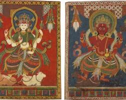 908. adouble-sided paubha depicting agni and maheshvari nepal, 17th/18th century |