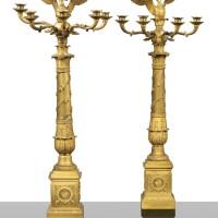 7. a pair of gilt-bronze candelabra, french restauration,circa 1820
