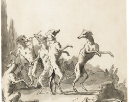 41. giovanni domenico tiepolo | four dogs dancing and one seated looking to the left