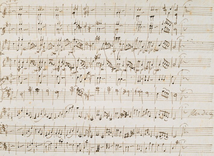 historical manuscript by Mozart in an auction selling historical documents