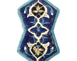149. a timurid eight-sided cuerda seca tile, central asia, circa 1425