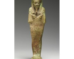 10. an egyptian faience ushabti of psamtik, son of mer-neith and overseer of the scribes of the royal meals, early 27th dynasty, circa 525-500 b.c.
