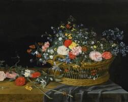 30. 老楊·凡·凱塞爾 | 《垂布桌上的一籃花卉》