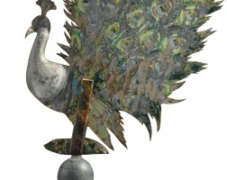 1783. molded copper and sheet iron peacock weathervane, likely 19th century |