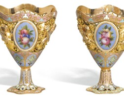714. a pair of gold and enamel zarfs, geneva, circa 1825