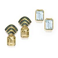 5. pair of 18 karat gold and citrine pendant-earrings