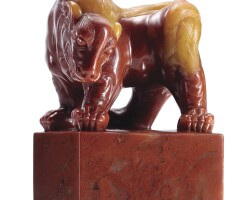 3004. a finely carved soapstone 'mythical beast' seal qing dynasty, 18th century