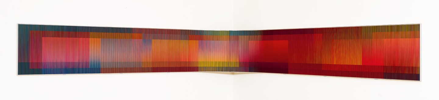 Carlos Cruz-Diez acrylic and plastic elements on aluminum in an auction selling Latin American Art