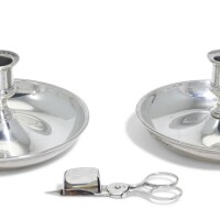147. royal. a pair of george iii silver travelling chamber candlesticks and a pair of snuffers, en suite, samuel whitford, the snuffers wilkes booth, london, all 1808 |