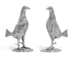 9. two fighting cock pepperettes, f.b. thomas & co., london, 1933 and 1936