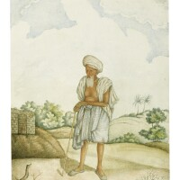96. portrait of dakoo, a jath aged 108 years, by a master artist working for william fraser, india, haryana, rania, 1816