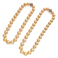 37. two cultured pearl and colored diamond necklaces