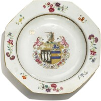 305. a chinese export armorial octagonal soup plate, qing dynasty, qianlong period, circa 1760 |