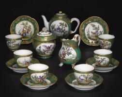 17. 塞夫爾軟瓷茶具,屬於帕爾馬公爵一套綠色餐具 1765年 |