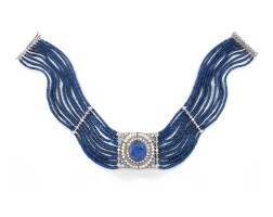 18. sapphire, pearl and diamond necklace, 1920s