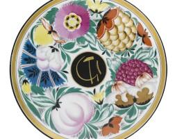 411. fruit and flowers: a soviet porcelain plate, state porcelain factory, leningrad, probably circa 1920