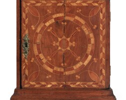 6026. very rare chippendale compass-inlaid walnut, red cedar, locust and holly spice box, probably chester county, pennsylvania, circa 1760