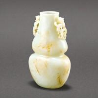 31. 清 白玉雙螭耳葫蘆瓶 《乾隆御製》仿款 |