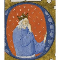 8. king david pointing to his eyes, historiated initial cut from an illuminated choir psalter, in latin, manuscript on vellum