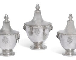 7. a suite of three graduated italian silver cache pots and covers, probably gaetano guadagni, florence, early 19th century |