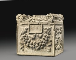 35. a roman marble cinerary urn and lid, 1st century a.d.   a roman marble cinerary urn and lid