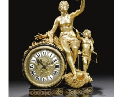 13. a gilt-bronze ebony and brass inlaid boulle marquetry clock after andré-charles boulle by henry dasson, dated 1881
