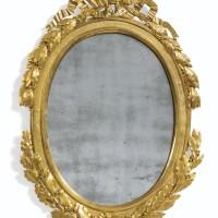 132. miroir ovale en bronze doré d'époque louis xvi, vers 1780