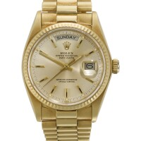 4. rolex | a yellow gold automatic centre seconds wristwatch with day, date and braceletref 18038 case 6654454 day-date circa 1981