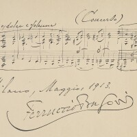 172. busoni, ferruccio. fine musical quotation from the opening of his piano concerto