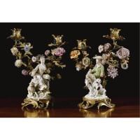1. a pair of gilt-bronze and porcelain mounted candelabra, louis xv, circa 1750