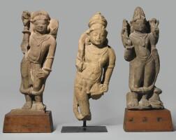 1312. group of three sandstone deities central india, 10th / 11thcentury