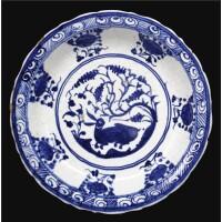 312. a safavid blue and white dish, persia, circa 1500