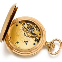 24. a. lange & söhne, glashütte   a very fine pink gold hunting cased keyless pocket chronometer with spring detent escapementcirca 1895, no. 27885